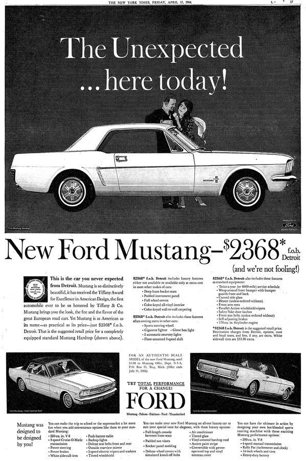 Ford Mustang, The New York Times - April 1964